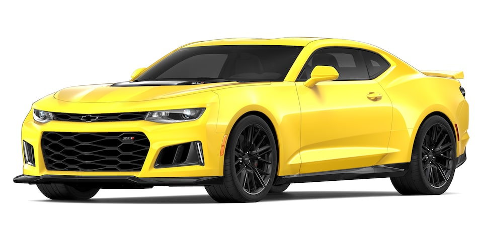 Chevrolet Camaro ZL1 2020, deportivo convertible en color flash yellow